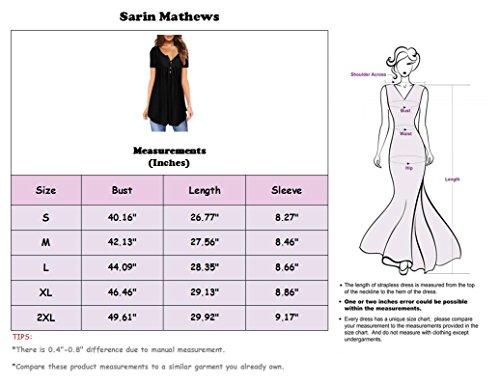 30fe9939c Sarin Mathews Womens Shirts Casual Tee Shirts V Neck Short Sleeve Button Up  Tunic Tops Blouses