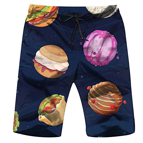 Cool pillow Food Planets Fantastic Space World Backdrop Mens Boardshorts Swim Trunks Quick-Drying Running Shorts L