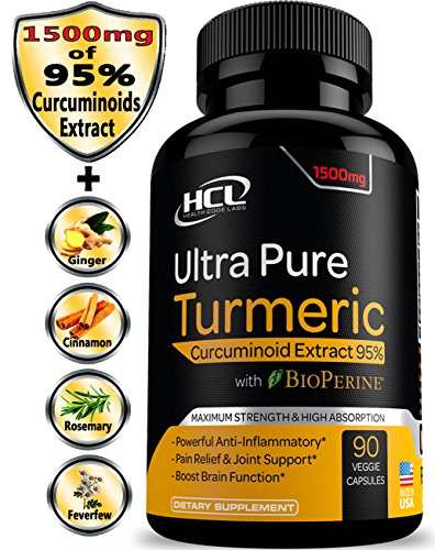 Turmeric Curcumin Supplement 19X Stronger -1500 mg of 95% Curcuminoids Extract Capsules - Pure Turmeric with BioPerine Ginger Cinnamon - Best Anti-Inflammatory Joint Support Antioxidant Powder Pills ()