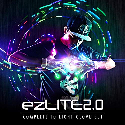EmazingLights LED Gloves Elite ezLite 2.0 Light Up Glove Set - #1 Leader in Gloving and Light Shows -