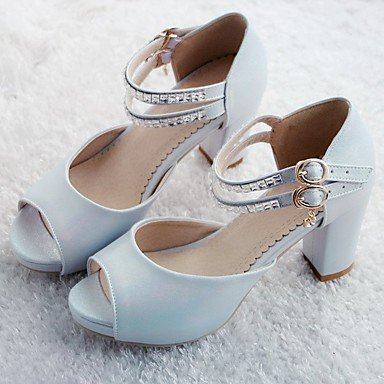 RUGAI-UE Moda de Verano Mujer sandalias casuales zapatos de tacones PU Confort,Blanca,US8 / UE39 / UK6 / CN39 Blue