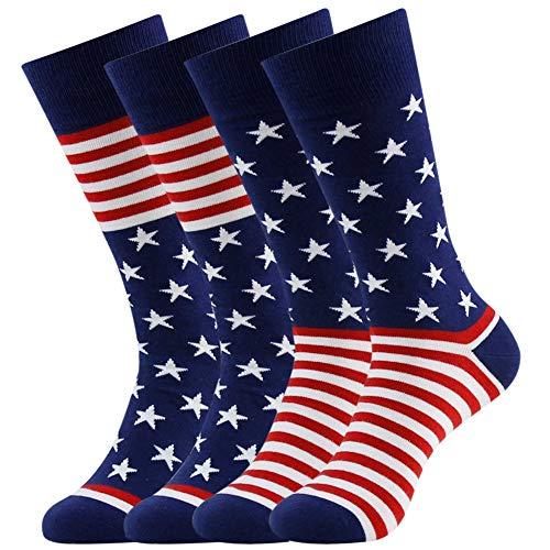(American Flag Fun Dress Socks for Men,Bonangel Cotton Novelty Crew Socks,Groomsmen Gift Socks 2/4/6 Pairs)