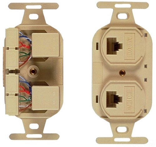 Allen Tel Products AT106BFD-52 2 Ports, USOC Wiring, IDC Termination, 110, 2-8 Conductor, 8 Position, 1-Keyed Duplex Flush Outlet Jack, Electric Ivory ()