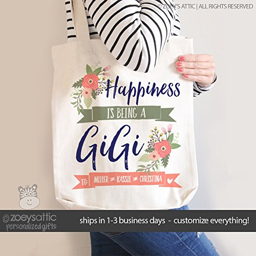gigi tote bag | happiness is being a gigi | mother's day tote bag | grandma tote bag