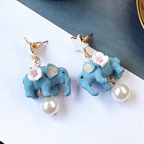 usongs New shipping cute five-pointed star three-dimensional flowers Thai elephant mascot cartoon pearl necklace pendant earrings earrings by usongs