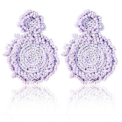 - Statement Drop Earrings - Bohemian Beaded Round Dangle Earrings Gift for Women (Purple)