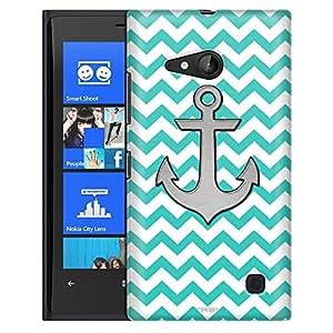 Nokia Lumia 730 Case, Slim Fit Snap On Cover by Trek Anchor on Chevron Zig Zag Turquoise White Case