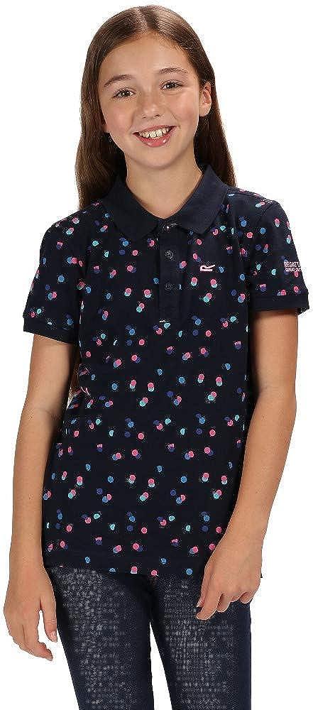 Regatta Kids Tobin Coolweave Cotton Button Neck Polo Shirt Size 11-12 Navy Polka Dot