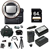 Sony LA-EA4 A-Mount to E-Mount FF Lens Adapter with TMT w/ Sony 64GB SDXC Class 10 70MB/s Memory Card, 2 Wasabi NPFW50 + charger & Digital SLR Camera Bag Bundle