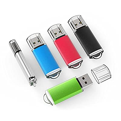 TOPESEL 5 Pack USB 2.0 Flash Drives Memory Stick Thumb Drives (5 Mixed Colors: Black Blue Green Red Silver) by TOPESEL