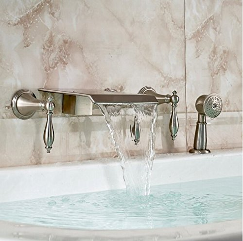 GOWE Luxury 5pcs Wall Mounted Waterfall Bathtub Bath Tub Mixer Faucet + Pull Out Hand Shower Brushed Nickel Finished by Gowe