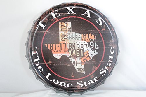 "Colors of Rainbow Bottle Cap Bottle Top Man Cave Bar Grill Metal Sign 13"" Texas The Lone Star State"