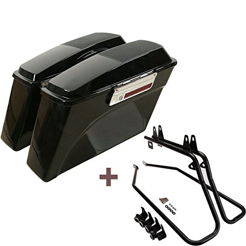 ASD Black Hard Saddlebags with Speaker Lids & Black Saddle bag Conversion Support Mount Bracket Kit w/Latch Lock Key Set For 1997-2017 Harley Davidson Softail FXST