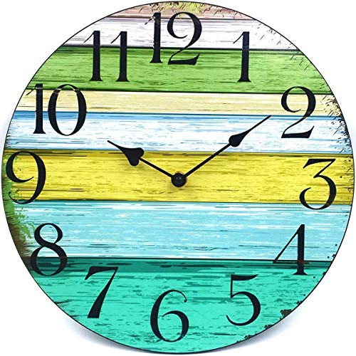 Coindivi 14 Silent Non Ticking Wall Clock, Wooden Decorative Round Wall Clock Battery Operated - Vintage Rustic Country Tuscan Style