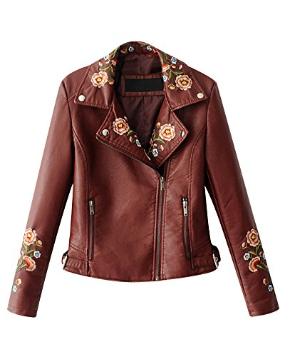 Pu Elegant Broderie Veste Courte Vin Femmes Avec Biker En Cuir Blouson Moto Rouge Florale wqxxI1va