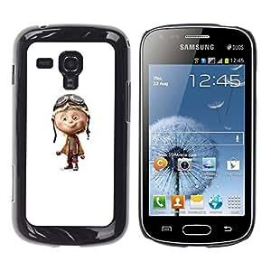 Caucho caso de Shell duro de la cubierta de accesorios de protección BY RAYDREAMMM - Samsung Galaxy S Duos S7562 - Pilot Airplane White Character Children'S