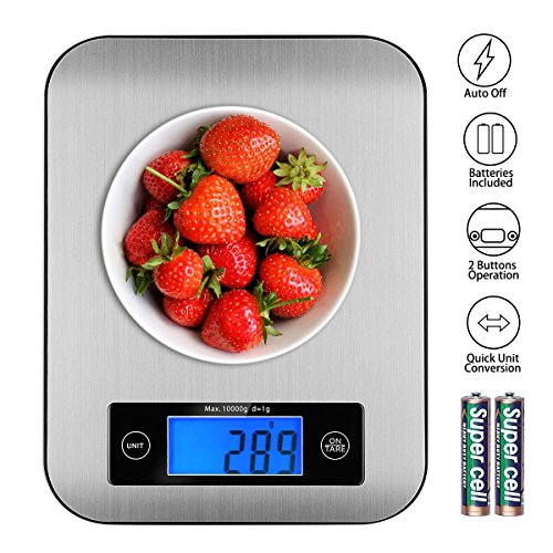 Food Scales Digital Postage Scale Stainless Steel Kitchen Scales Baking Scale for Cooking Multifunction Accuracy with LCD Display and Tare Function Gram Scale 22Ib 10kg
