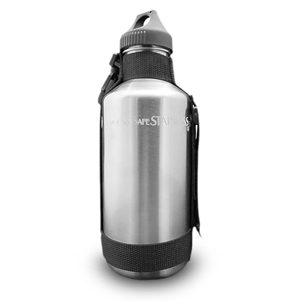 New Wave Enviro 40oz Stainless Steel Water Bottle with Strap by New Wave Enviro