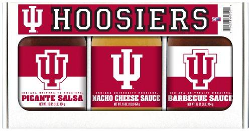Indiana Hoosiers NCAA Triple Play Gift Set (16oz BBQ Sauce, 16oz Picante Salsa, 16oz Cheeze Dip) ()