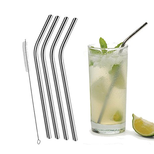 Money coming shop 4 Pcs Bent Drinking Stainless Steel Straws For Yeti 20oz Tumbler With 1 Pc Cleaning Cleaner Brush (Belt Buckle Mossberg)