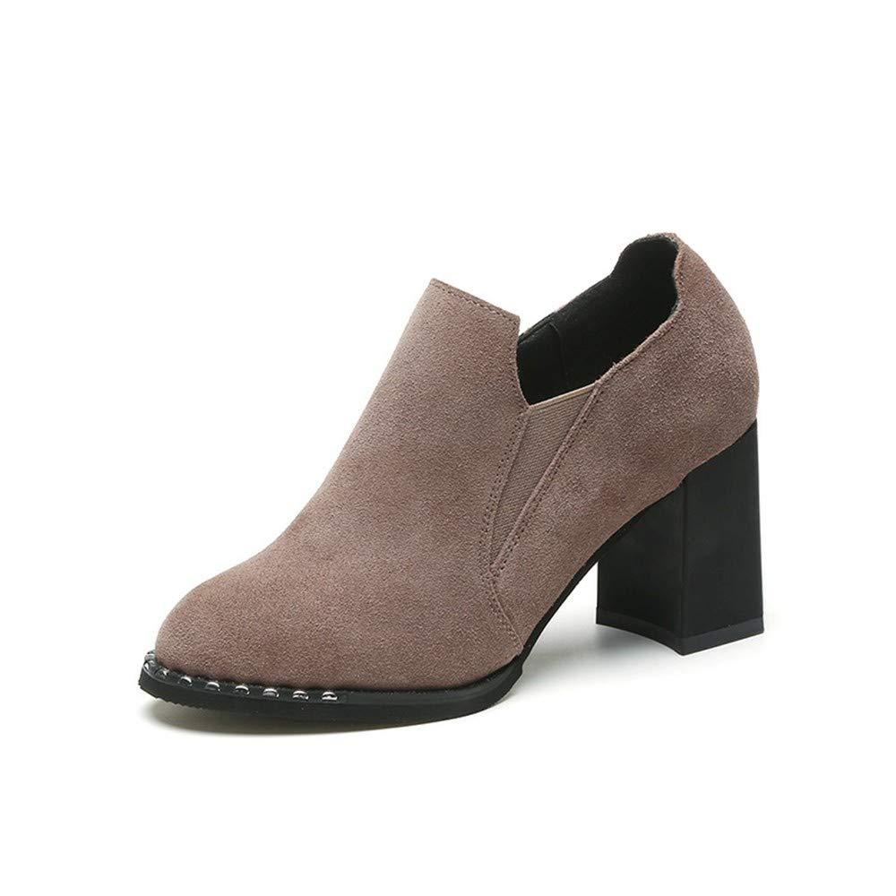 JUNKAI Stiefel Damen Schuhe im Herbst und Winter sind mattiert mit PU-Rundkopf High Heels Kurze Stiefel und Stiefeletten Thirty-Five