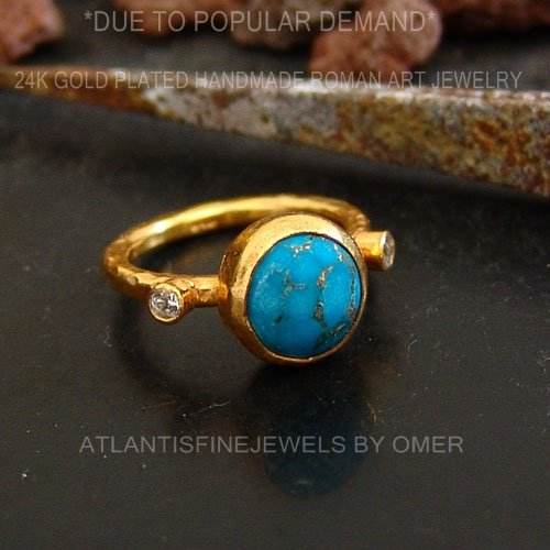 Stackable Ring Handcrafted Jewelry Women Ring 925k Sterling Silver Turquoise W//Topaz Stack Ring 24k Gold Plated Handmade Ancient Art Turkish Fine Jewelry Artisan Jewelry