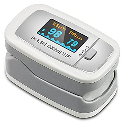 Easy@Home Fingertip Pulse Oximeter with Luxury Dual-Color OLED Display in 4 directions and 6 modes , Free Carry Case and Neck/Wrist Cord, EHP 50D1 - Handheld Portable Digital Blood Oxygen and Pulse Sensor Meter, Easy and Fast Readings Fit Child to adul