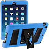 i-Blason Apple iPad Mini with Retina Display Case ArmorBox 2 Layer Convertible [Hybrid] Full-Body Protection KickStand Case with Built-in Screen Protector for Kids Friendly (Blue/Black)