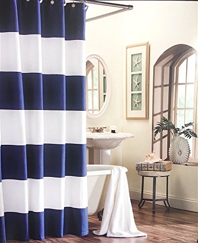Cabana Stripe Shower Curtain (Max Studio Home Fabric Shower Curtain - Navy Blue and White Cabana Stripes 100% Cotton)