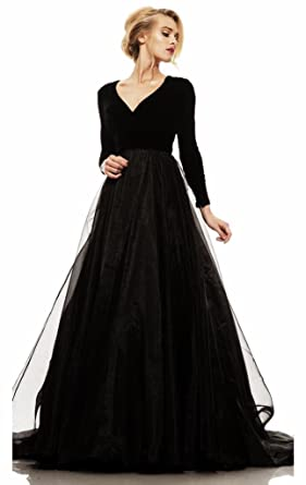 Passat Velvet Organza Long Sleeved Gown Prom Dresses JK11 - - Custom Made