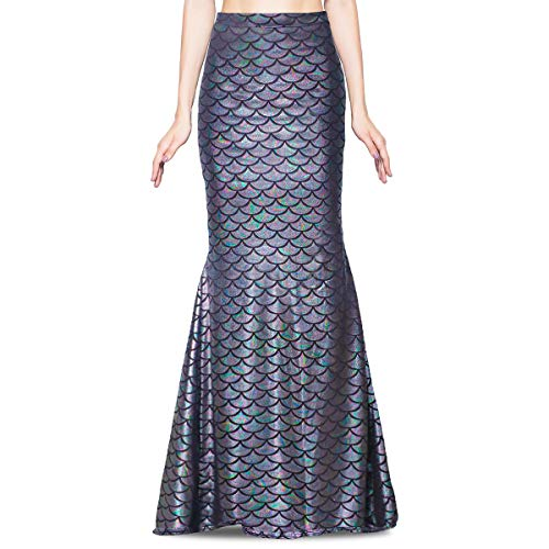 Jescakoo Women's Funcy Fish Scale Mermaid Maxi Skirts