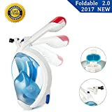 Full Face Snorkel Mask 2.0 Foldable Full Face Snorkeling Diving Scuba Mask with Detachable GoPro Mount, 180°Panoramic Easy Breath Anti-fog for Adults Youth (Small, Blue & White)