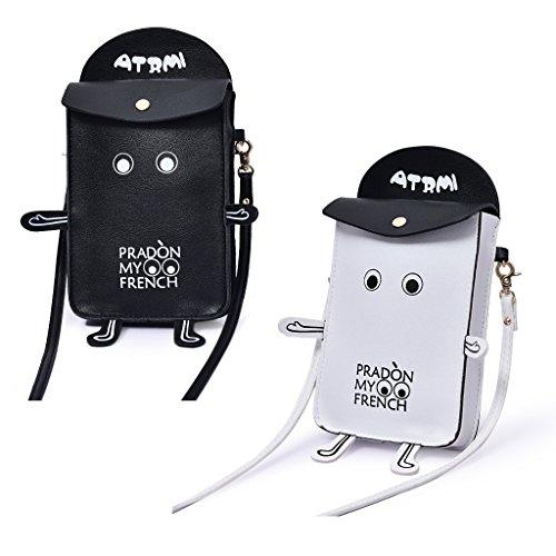 Crossbody Tracolla Bianco Del Borse Portafoglio Jagenie Borsa Robot Cellulare Donna A SfwOznF