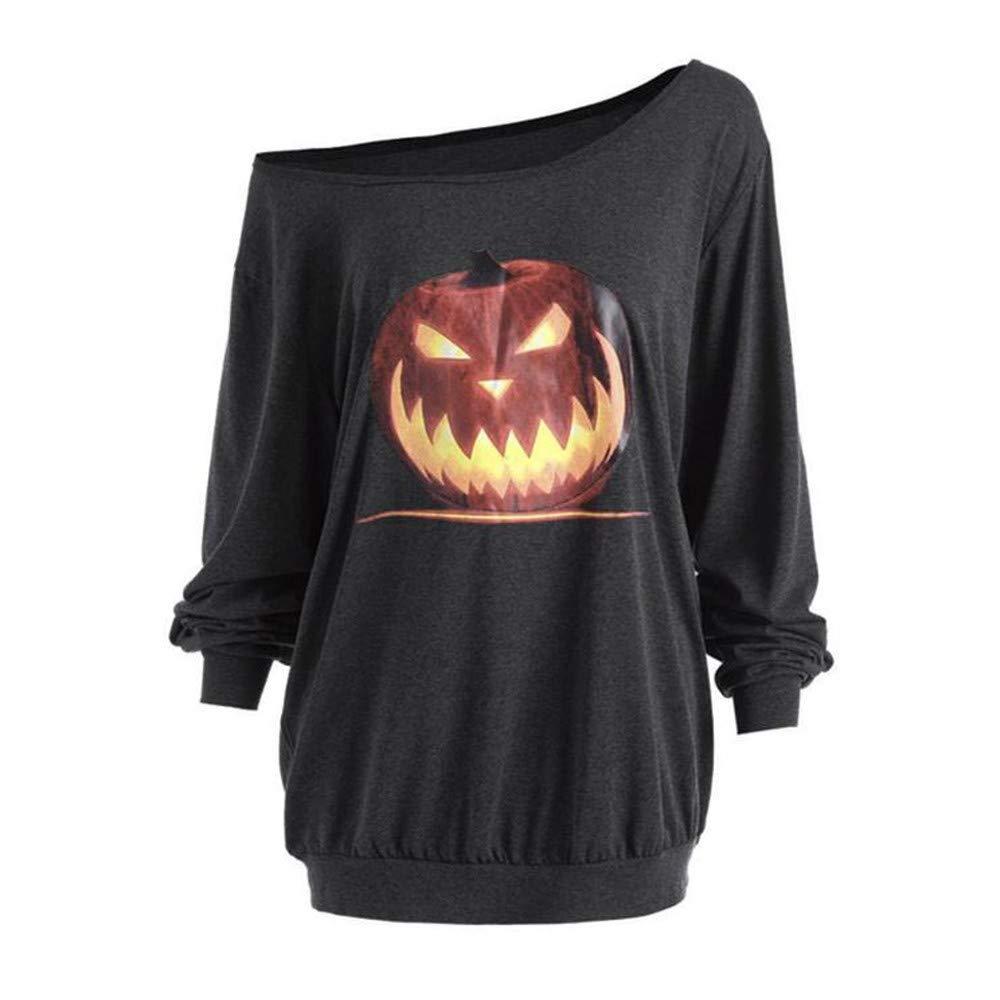 Halloween Costumes for Women, Womens Long Sleeve Off Shoulder Pumpkin Fashion T-Shirt Tops Blouse Pullover Sweatshirt