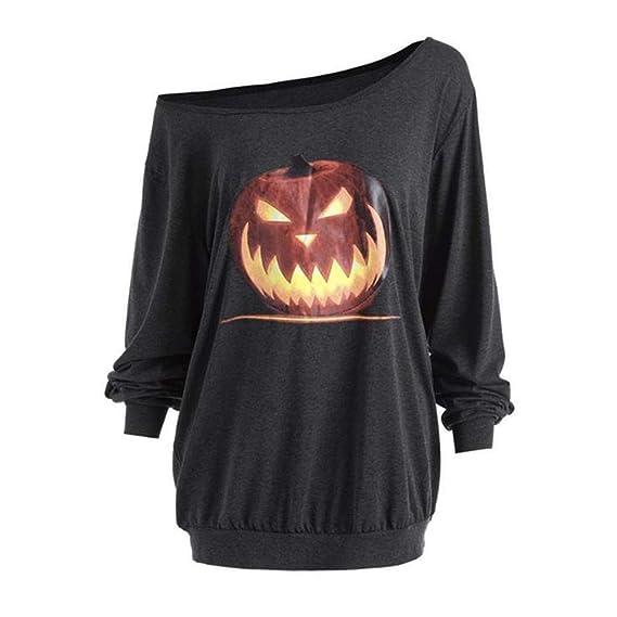 ... BBestseller Camiseta Estampada con Estampado de Calabaza de Halloween con Hombro Diagonal para Mujer Top de Manga Larga: Amazon.es: Ropa y accesorios