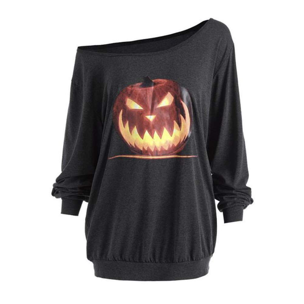 UONQD Women Long Sleeve Halloween Angry Pumpkin Skew Neck Tee Blouse Tops (Large,Gray)