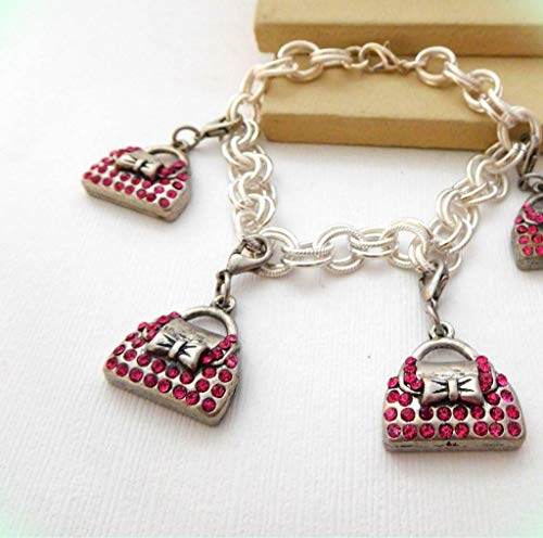 Bright Pink Rhinestone Silver Tone Purse Pocketbook Handbag Charm Bracelet for Women ()