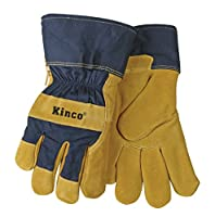 Kinco 1926 Lined Split Pigskin Leather Palm Work Glove, Blue, Safety Cuff