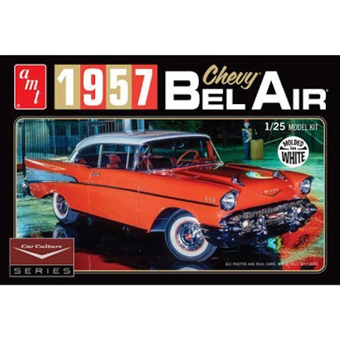 AMT 983 1957 Chevy Bel Air - Molded in White - 1:25 Scale Plastic Model Kit - Requires Assembly! by AMT