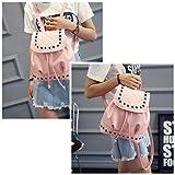 Meiyiu Women Fashion Rivet Design PU Backpack Portable High-Capacity Bag for Students Pink