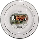 PRIVAT DELUXE CATERING PLASTIC PLATES Hard White Plate with Silver Rim, Box of 200 count (10 Pack), Beautiful and Great for any Occasion, Non Toxic, BPA Free (10.25 Inch)