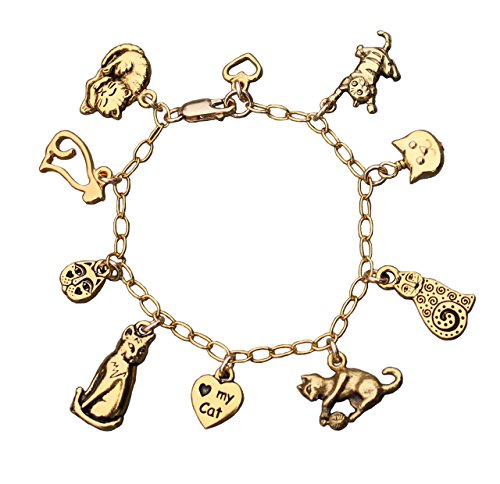 Love My Cat Charm Bracelet - Gold Plated Kitty Themed Charms with 14k Gold Filled Chain- Size XL
