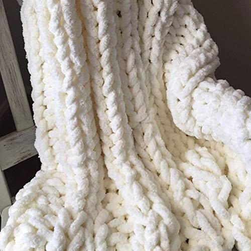 Giant Knit Chenille Blanket Throw Hand Knit Fluffy Blanket Creamy Hand Knitted Blanket for Family Xmas Gift by FAU-Hand Knit Blanket (Image #1)
