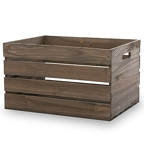 The Lucky Clover Trading Antique Wood Crate Basket with Handles, Brown