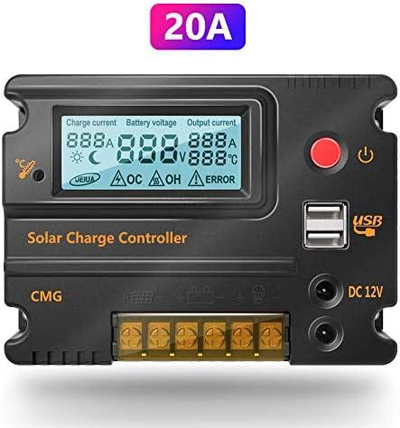 20A 12V 24V Solar-Laderegler Auto Switch LCD intelligente Panel Batterie Regler Laderegler berlastschutz
