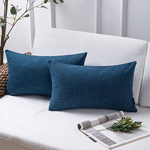 Phantoscope Throw Pillow Cover Textured Faux Linen Series Decorative Cushion Covers for Home Decor Sofa Pack of 2, Navy…