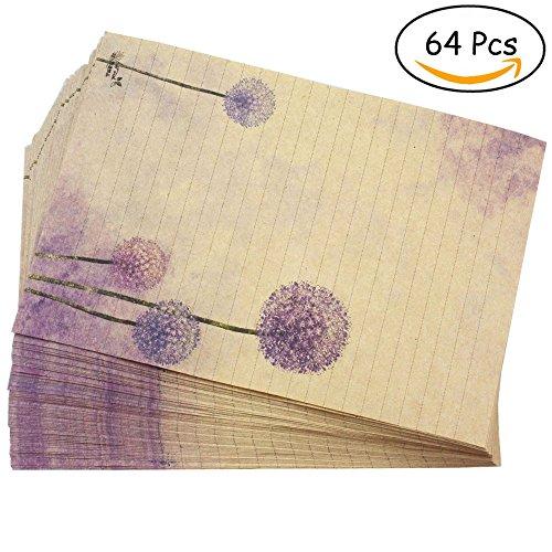 Bolbove 64 Pcs Lovely Plant Elegant Dandelion Letter Writing Stationery Paper Lined Sheets (Printable Halloween Story Paper)