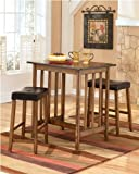 Berringer Pub Table with 2 24″ Barstools by Ashley Furniture For Sale