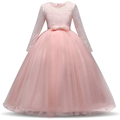 Amazon.com: Jurebecia Girls Lace Tulle Floor Length Bridesmaid Party Wedding Dance Prom Ball Gown 4-11 Years: Clothing