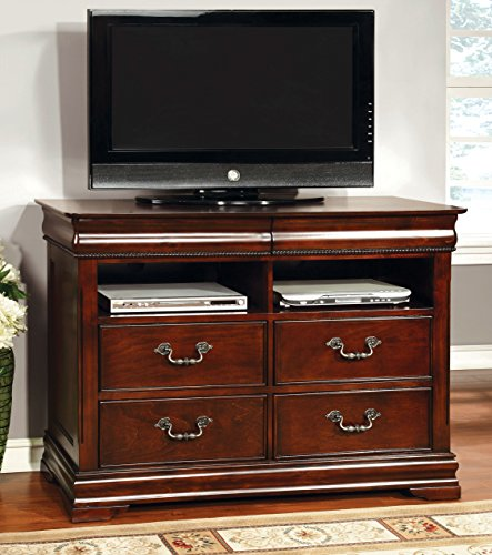 HOMES: Inside + Out ioHOMES Charline English Style TV Chest, Cherry Wide Media Chest